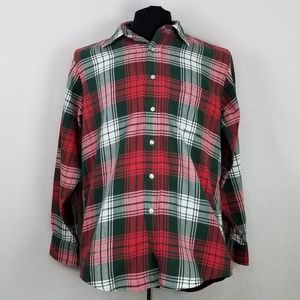 Vtg L.L. Bean Flannel Shirt Button Down Sz M